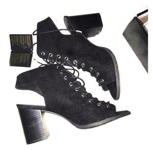 Black Lace Up Peep Toe Booties by Forever 21